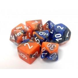 Gemini Polyhedral 7-Die Sets - Blue-Orange w/white