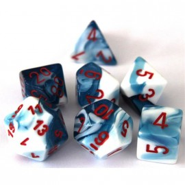Gemini Polyhedral 7-Die Sets - Astral Blue-White w/red