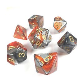 Gemini Polyhedral 7-Die Sets - Orange-Steel w/gold