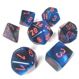 Gemini Polyhedral 7-Die Sets - Black-Starlight w/red